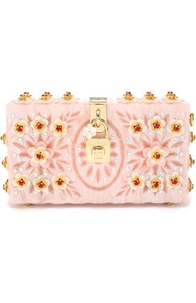 Клатч Dolce Box с отделкой кристаллами и резьбой Dolce & Gabbana розового цвета | Фото №1