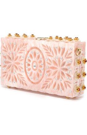 Клатч Dolce Box с отделкой кристаллами и резьбой Dolce & Gabbana розового цвета | Фото №3