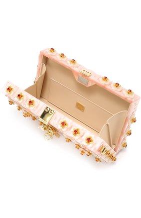 Клатч Dolce Box с отделкой кристаллами и резьбой Dolce & Gabbana розового цвета | Фото №4
