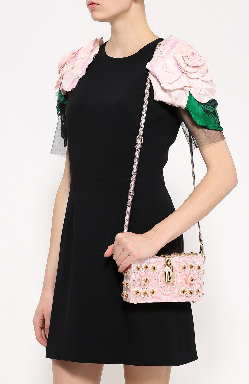 Клатч Dolce Box с отделкой кристаллами и резьбой Dolce & Gabbana розового цвета | Фото №5