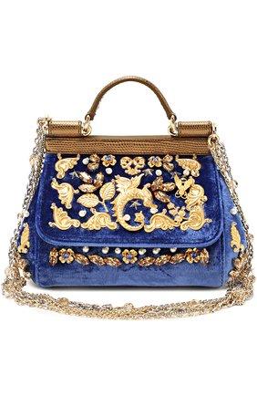 Бархатная сумка Sicily с кристаллами и металлическим декором Dolce & Gabbana синего цвета | Фото №1