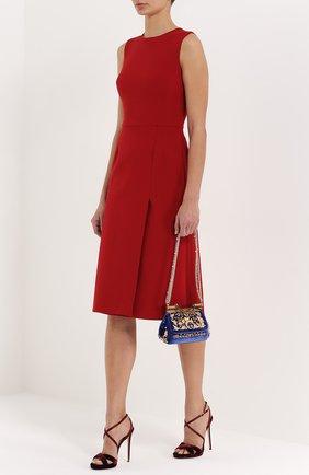 Бархатная сумка Sicily с кристаллами и металлическим декором Dolce & Gabbana синего цвета | Фото №2