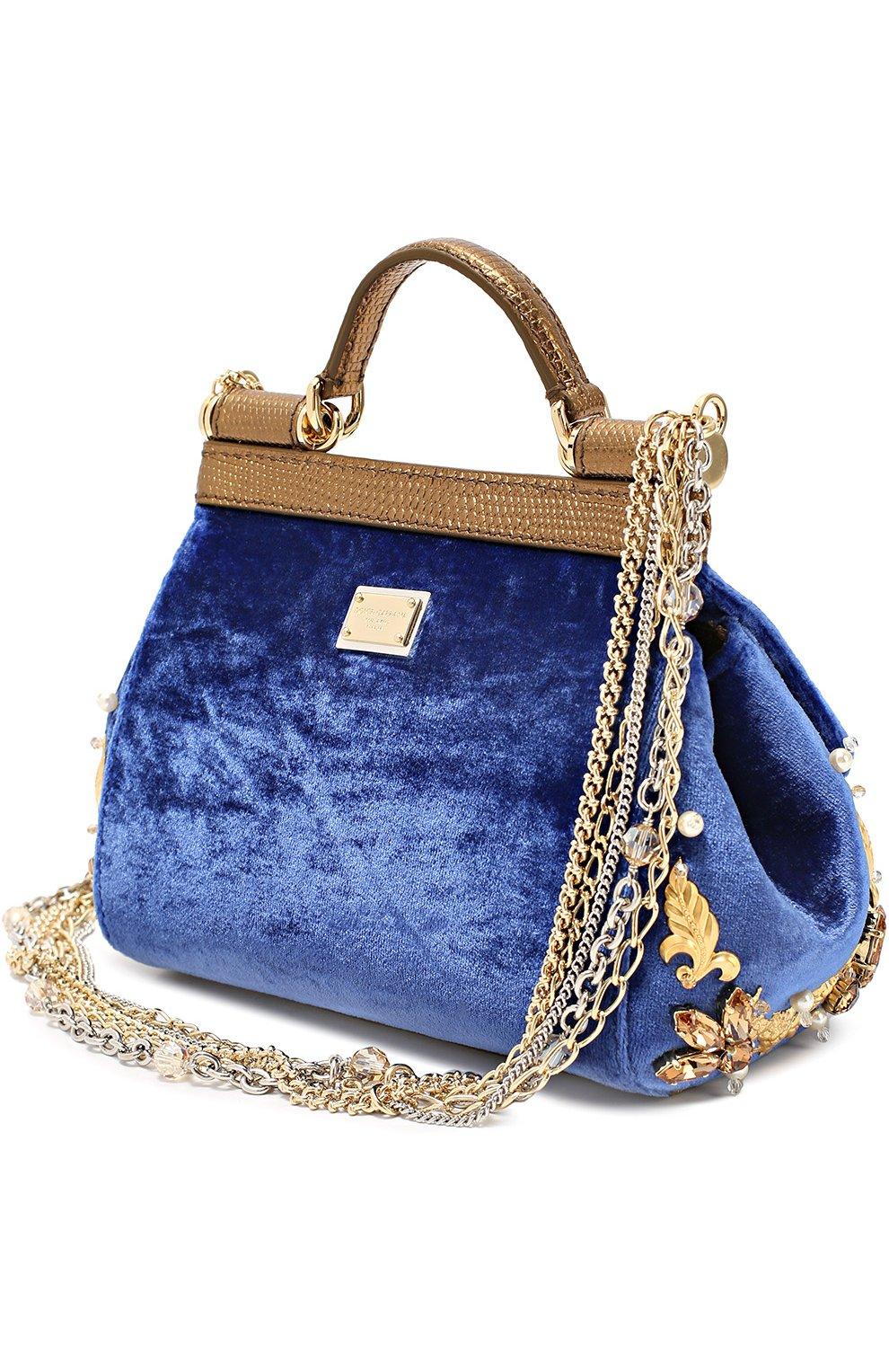 Бархатная сумка Sicily с кристаллами и металлическим декором Dolce & Gabbana синего цвета | Фото №3
