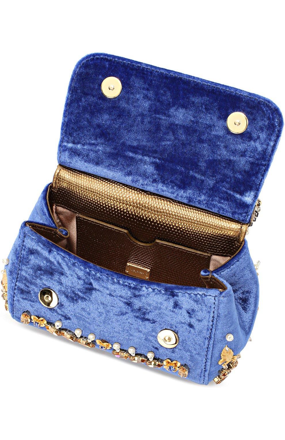 Бархатная сумка Sicily с кристаллами и металлическим декором Dolce & Gabbana синего цвета | Фото №4