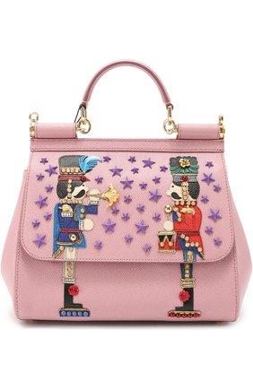 Сумка Sicily medium с аппликациями Dolce & Gabbana розовая цвета | Фото №1