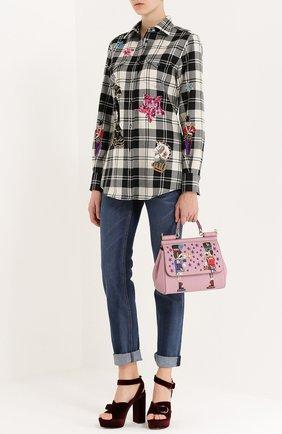 Сумка Sicily medium с аппликациями Dolce & Gabbana розовая цвета | Фото №2
