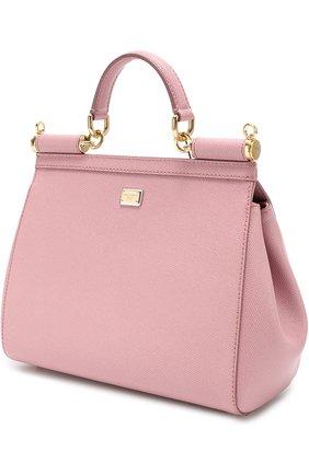 Сумка Sicily medium с аппликациями Dolce & Gabbana розовая цвета | Фото №3