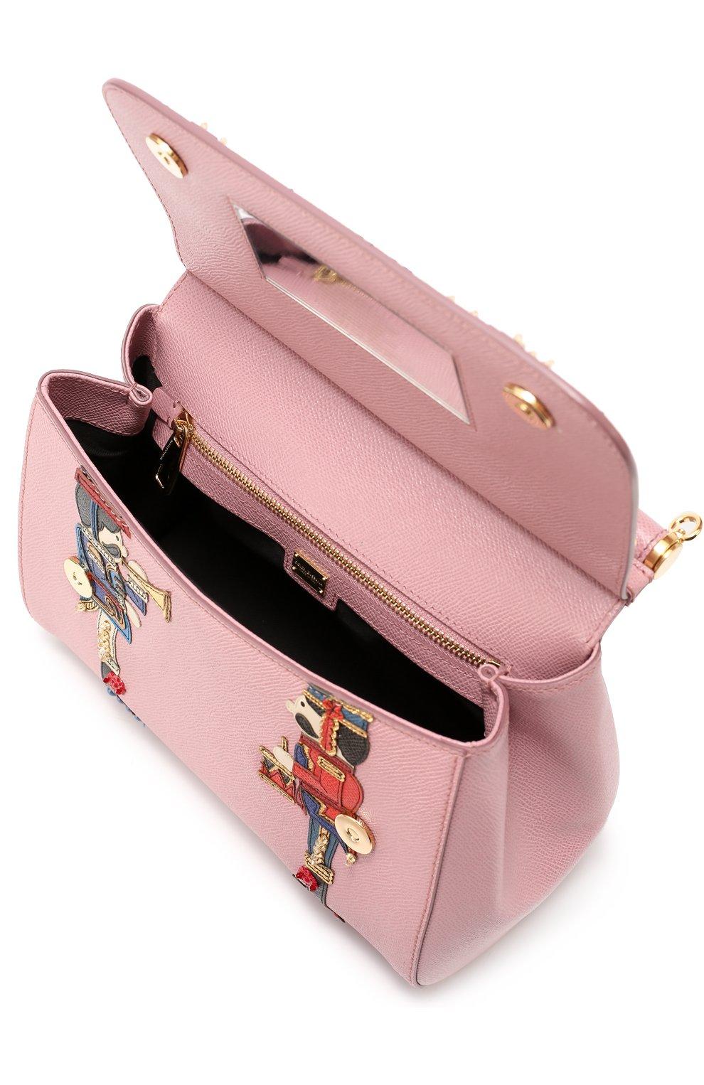 Сумка Sicily medium с аппликациями Dolce & Gabbana розовая цвета | Фото №4