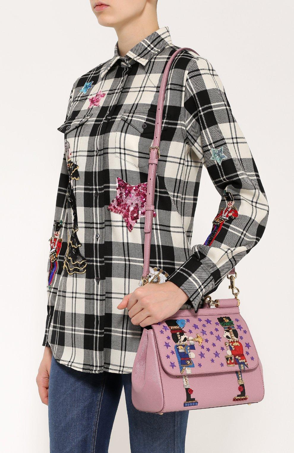 Сумка Sicily medium с аппликациями Dolce & Gabbana розовая цвета | Фото №5