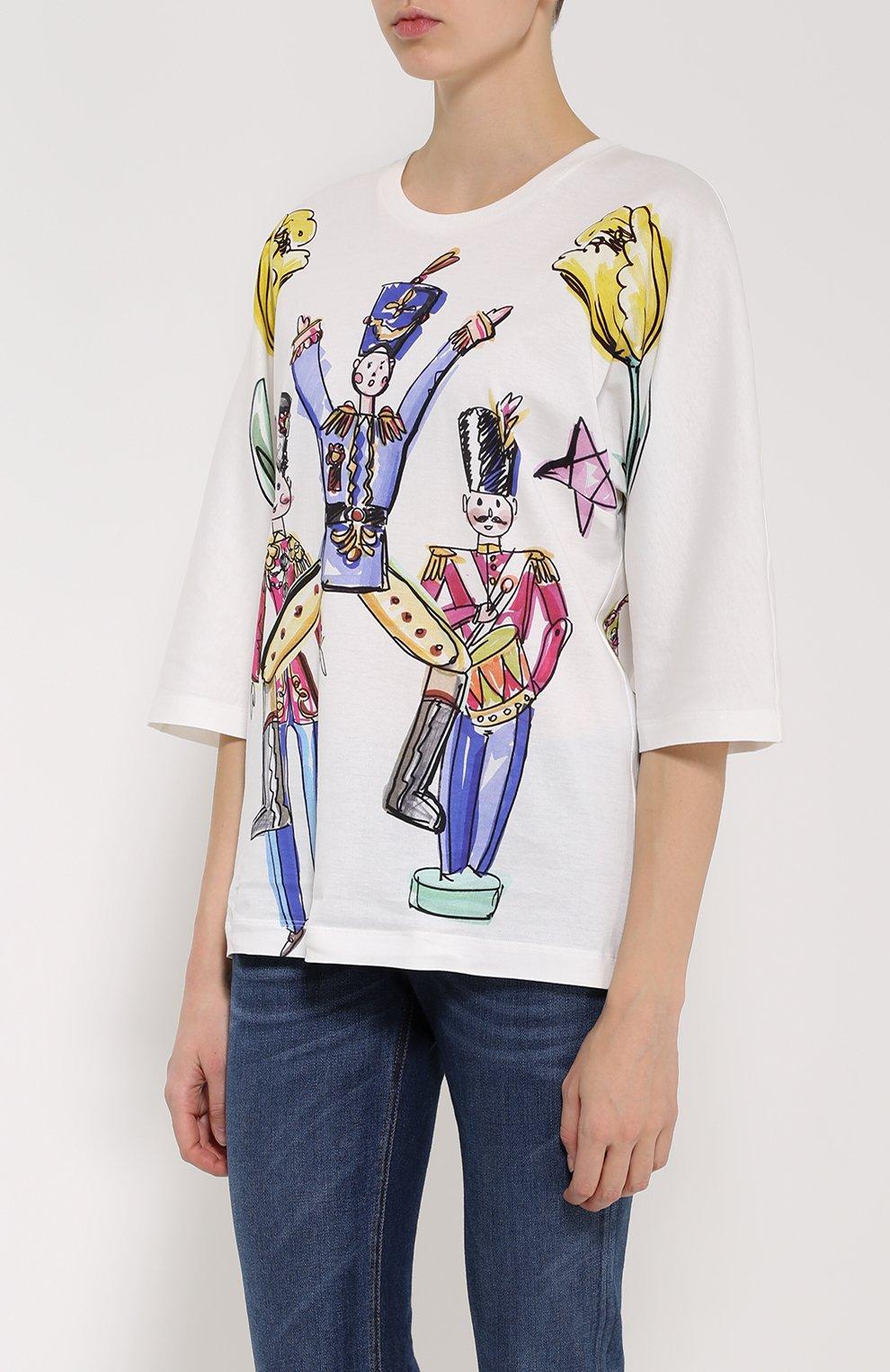Футболка прямого кроя с удлиненным рукавом и ярким принтом Dolce & Gabbana разноцветная | Фото №3