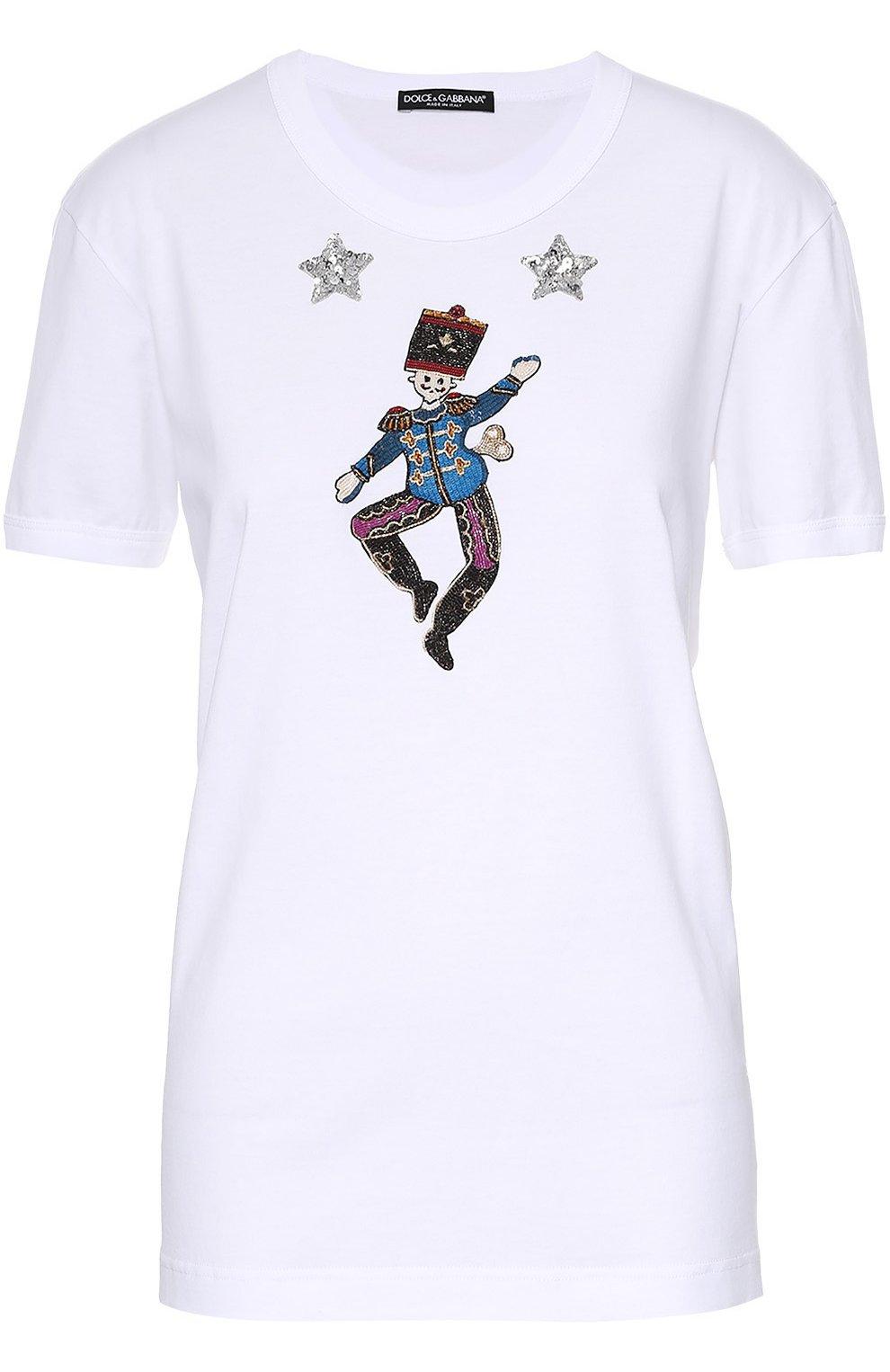 Хлопковая футболка прямого кроя с контрастной вышивкой   Фото №1