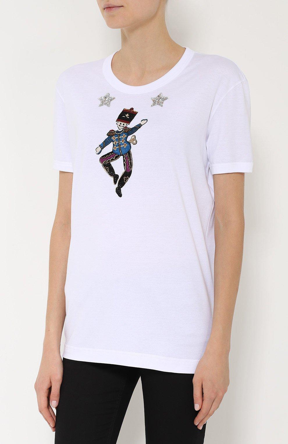 Хлопковая футболка прямого кроя с контрастной вышивкой   Фото №3