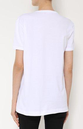 Хлопковая футболка прямого кроя с контрастной вышивкой   Фото №4