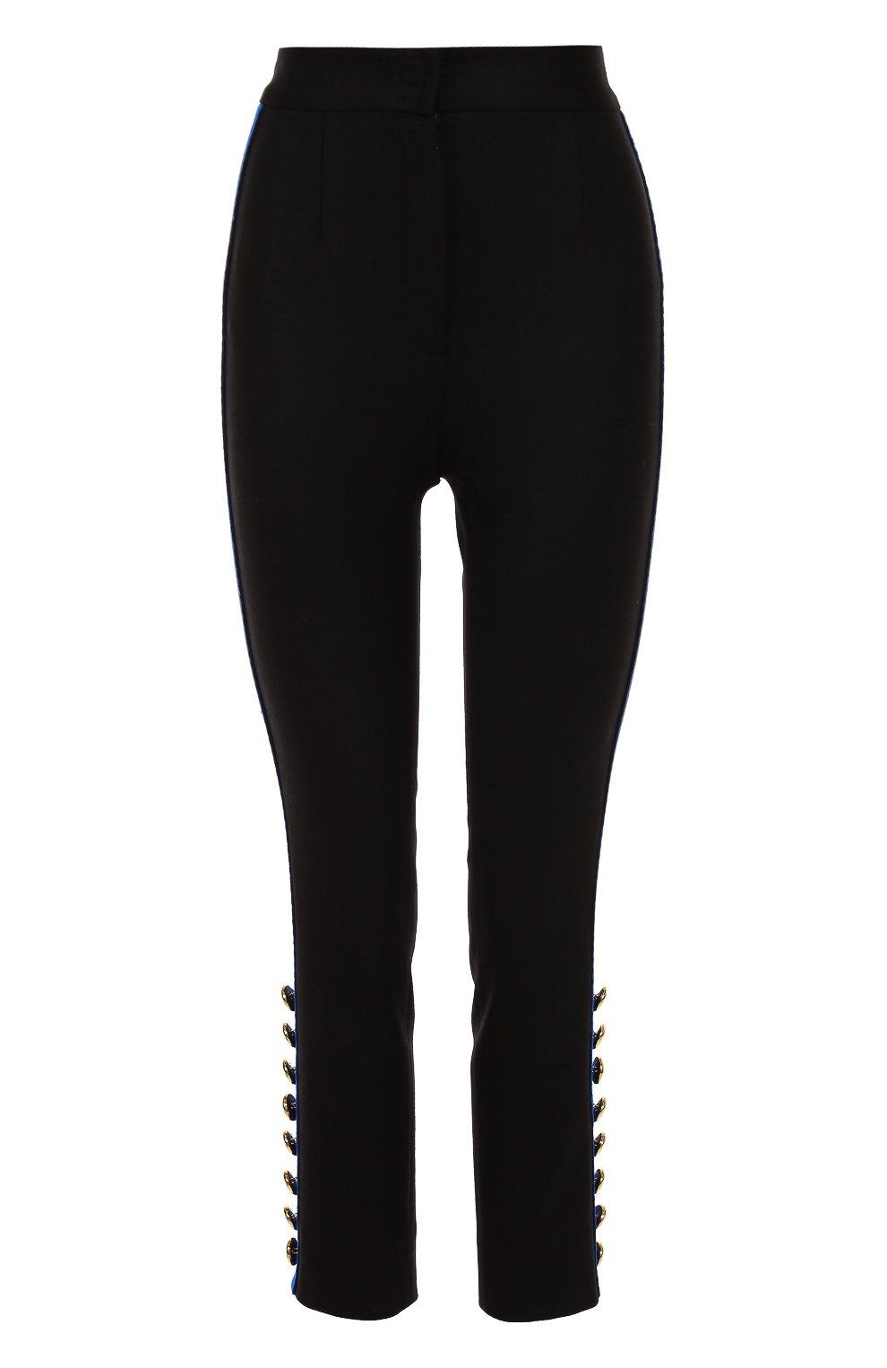 Укороченные брюки-скинни с контрастными лампасами | Фото №1