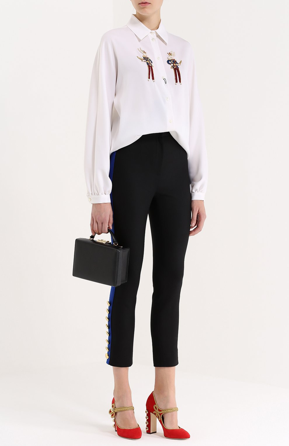 Укороченные брюки-скинни с контрастными лампасами | Фото №2