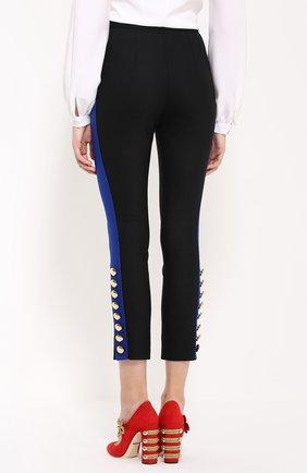 Укороченные брюки-скинни с контрастными лампасами | Фото №4