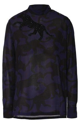 Блуза прямого кроя со звериным принтом и вышивкой бисером | Фото №1