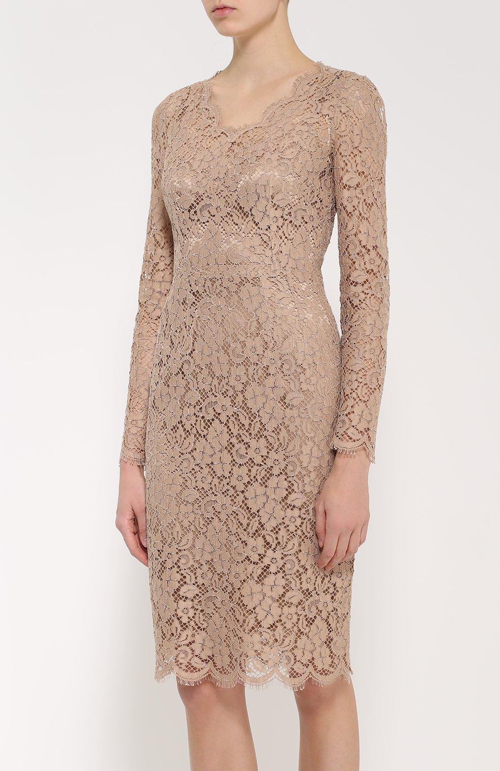 Приталенное кружевное платье с длинным рукавом | Фото №3
