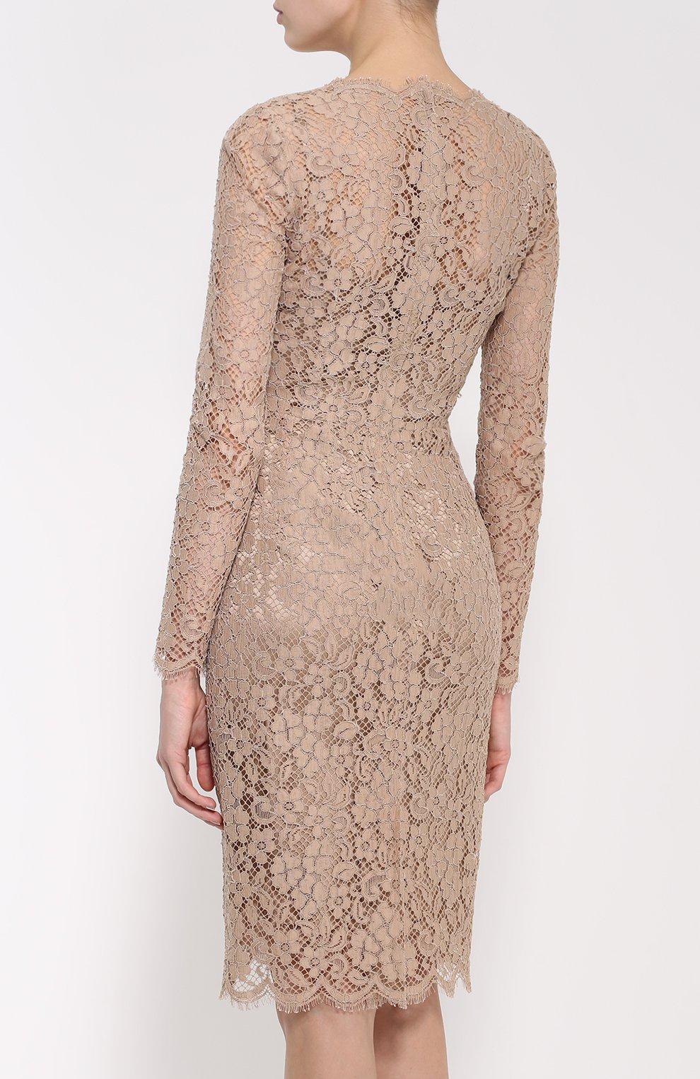 Приталенное кружевное платье с длинным рукавом | Фото №4