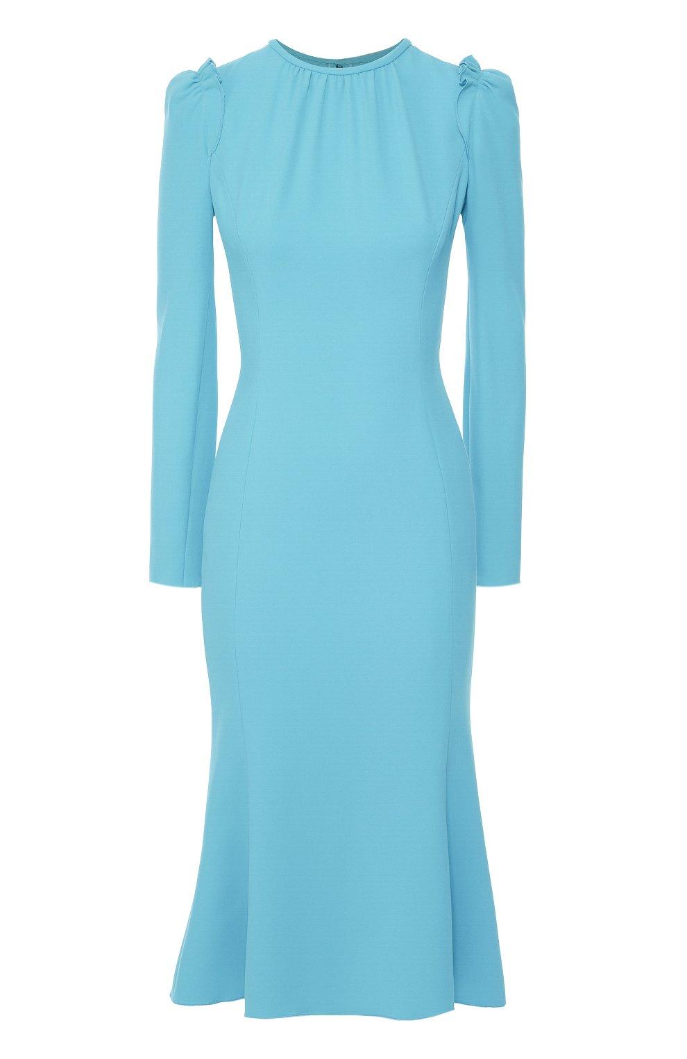 Приталенное платье с рукавом-фонарик и оборками | Фото №1