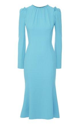 Приталенное платье с рукавом-фонарик и оборками Dolce & Gabbana голубое | Фото №1