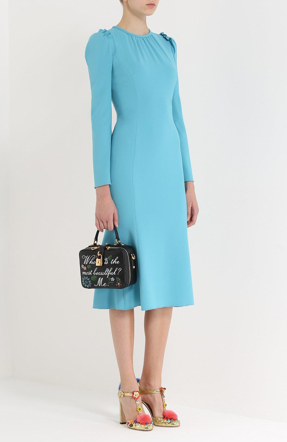 Приталенное платье с рукавом-фонарик и оборками Dolce & Gabbana голубое | Фото №2