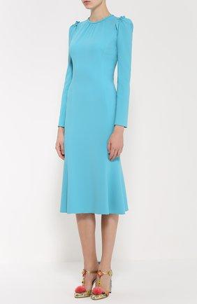 Приталенное платье с рукавом-фонарик и оборками Dolce & Gabbana голубое | Фото №3