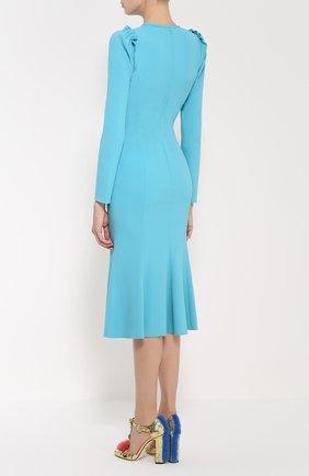 Приталенное платье с рукавом-фонарик и оборками Dolce & Gabbana голубое | Фото №4