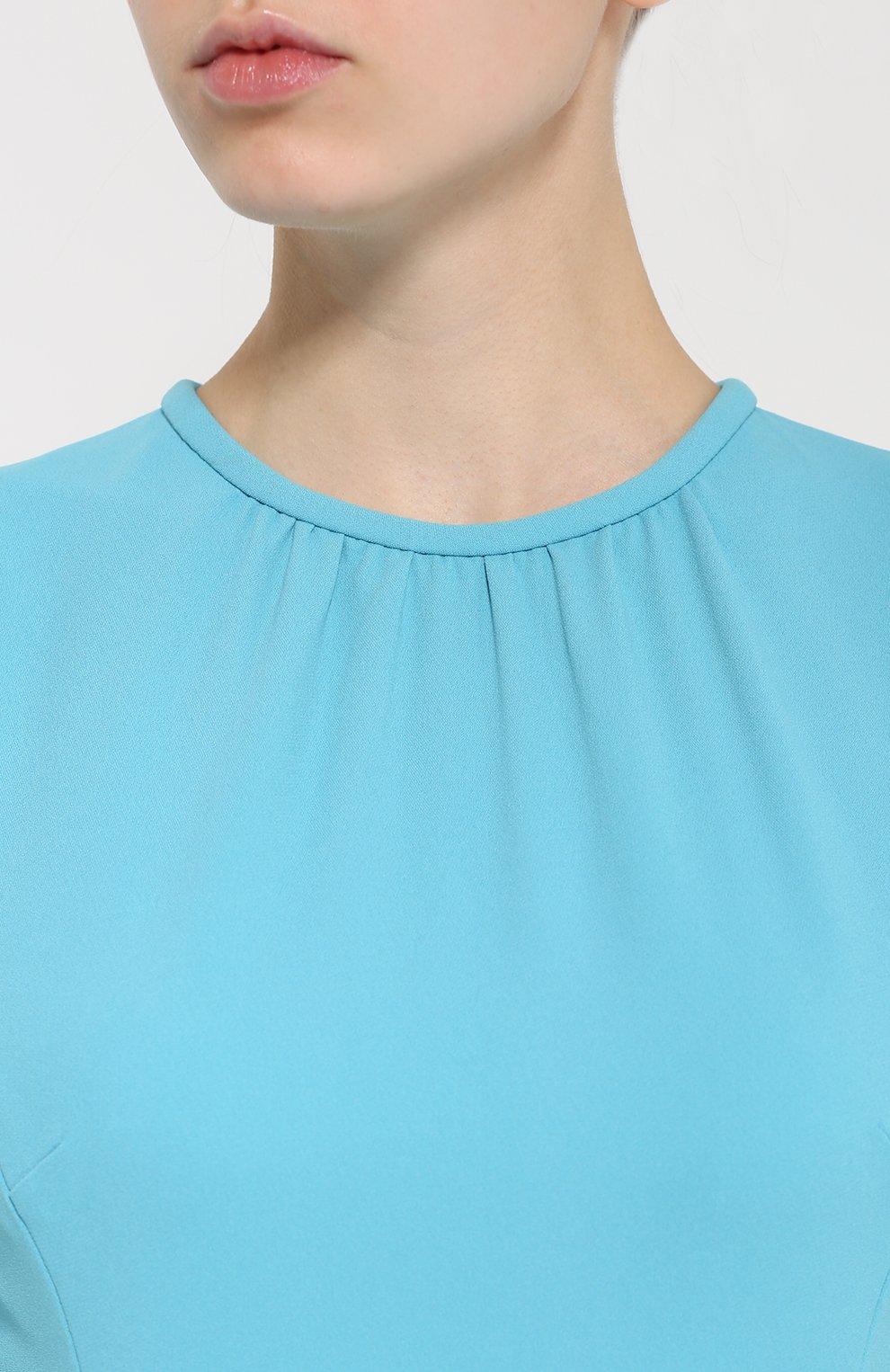 Приталенное платье с рукавом-фонарик и оборками Dolce & Gabbana голубое | Фото №5