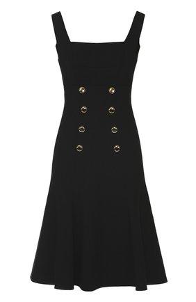 Приталенный сарафан с контрастными пуговицами Dolce & Gabbana черное | Фото №1