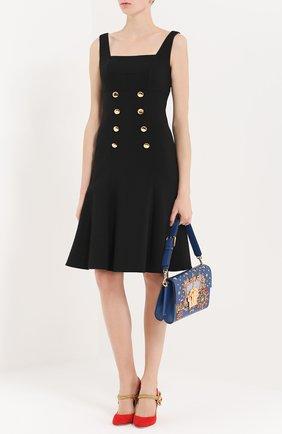 Приталенный сарафан с контрастными пуговицами Dolce & Gabbana черное | Фото №2
