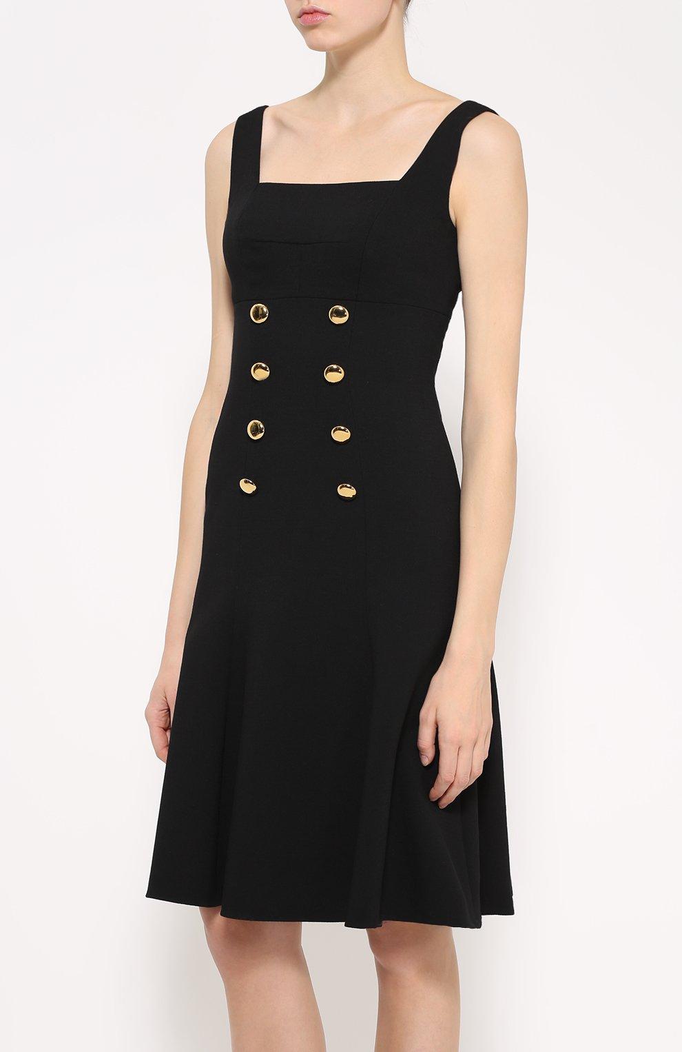 Приталенный сарафан с контрастными пуговицами Dolce & Gabbana черное | Фото №3