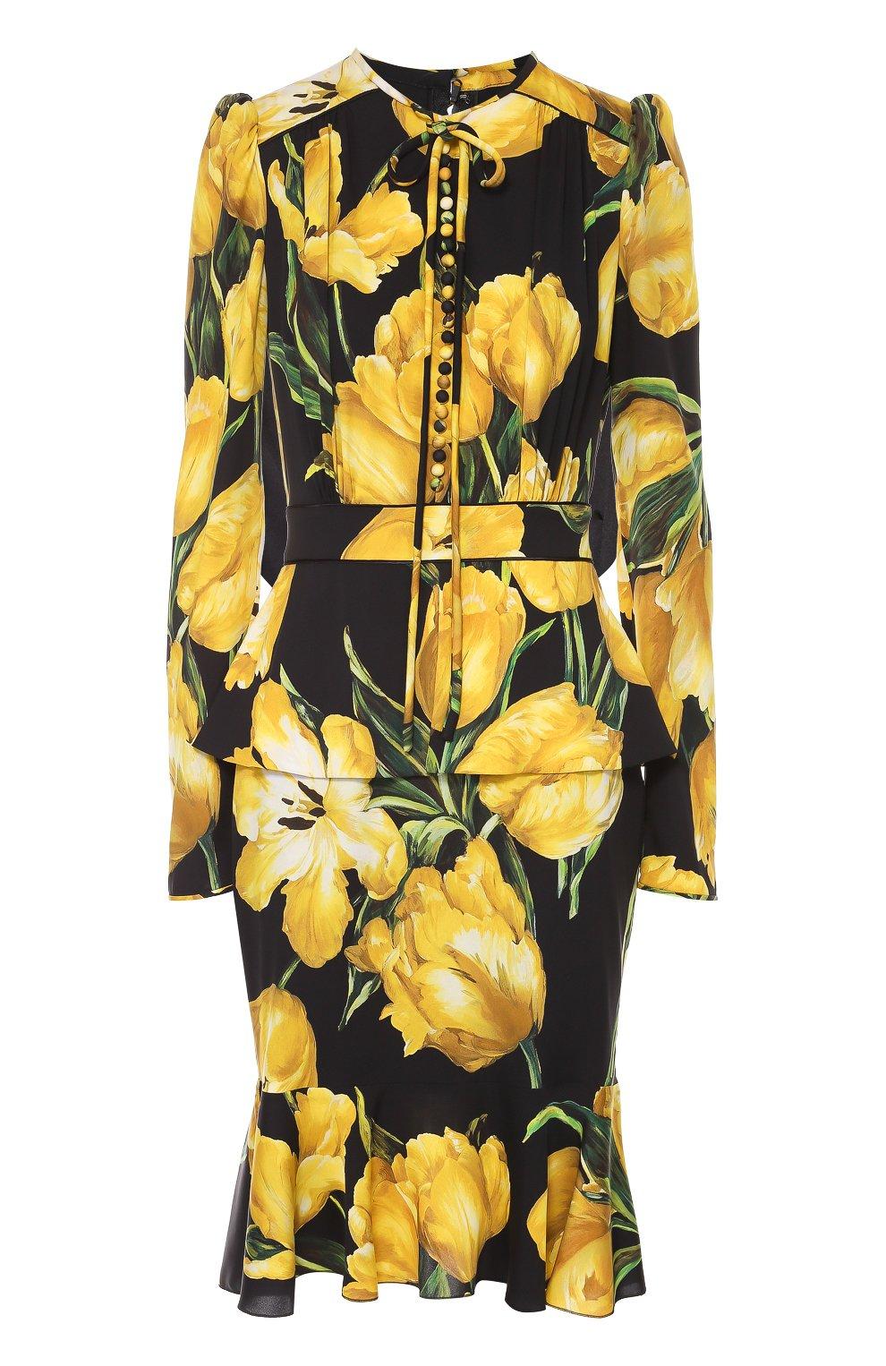 Шелковое платье с цветочным принтом и юбкой годе | Фото №1