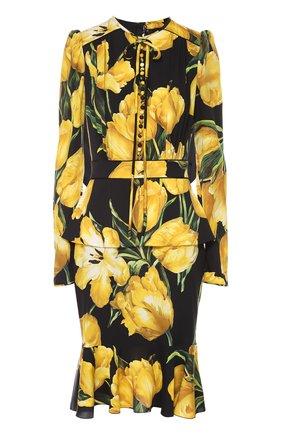 Шелковое платье с цветочным принтом и юбкой годе Dolce & Gabbana желтое | Фото №1