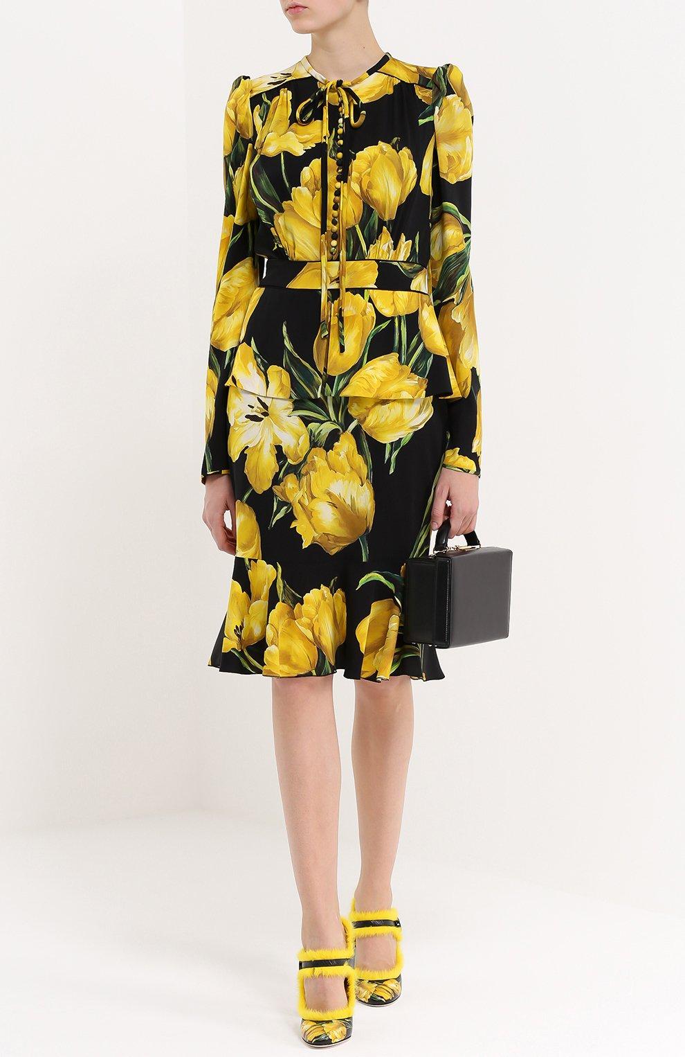 Шелковое платье с цветочным принтом и юбкой годе Dolce & Gabbana желтое | Фото №2