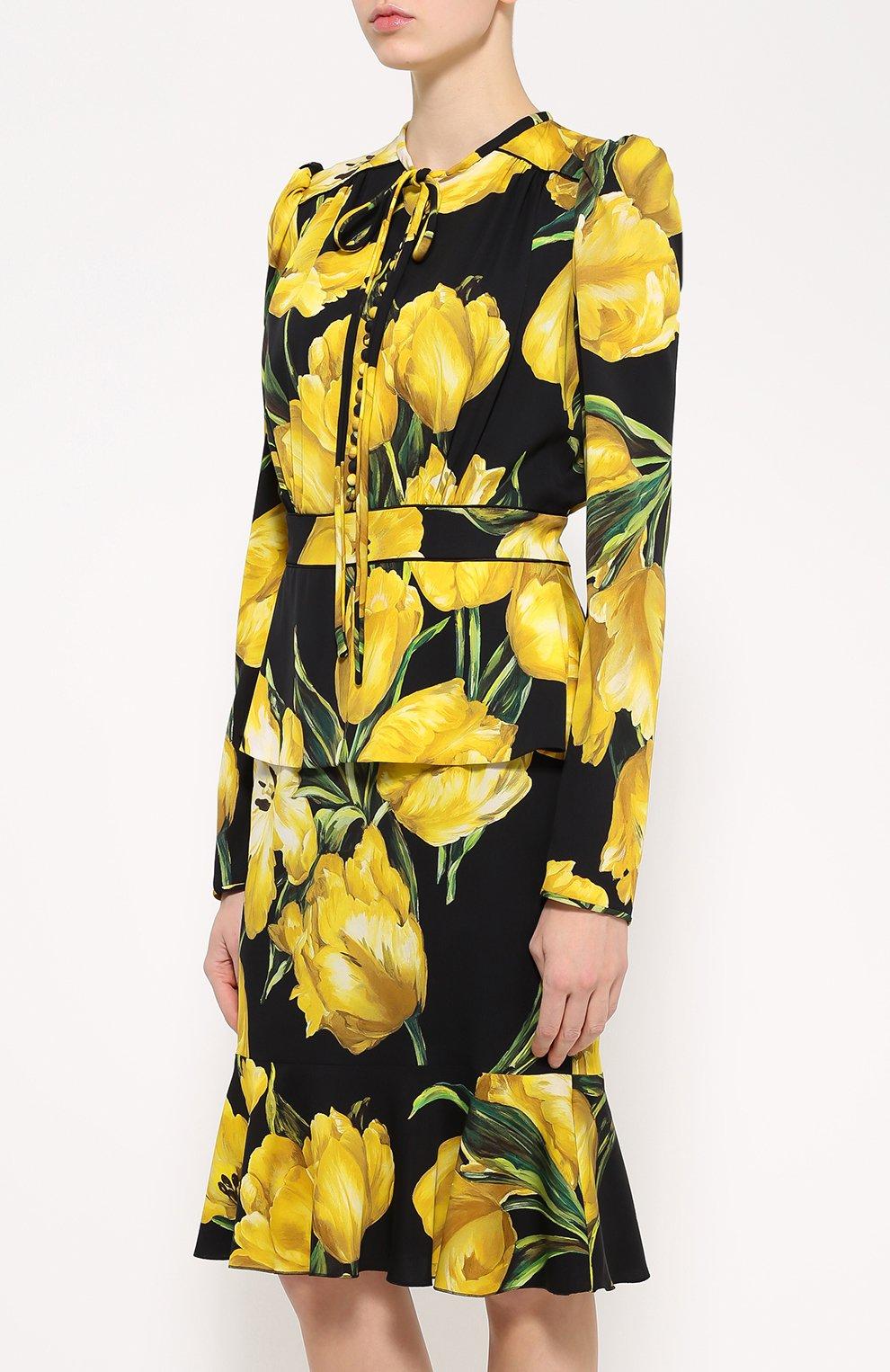 Шелковое платье с цветочным принтом и юбкой годе Dolce & Gabbana желтое | Фото №3