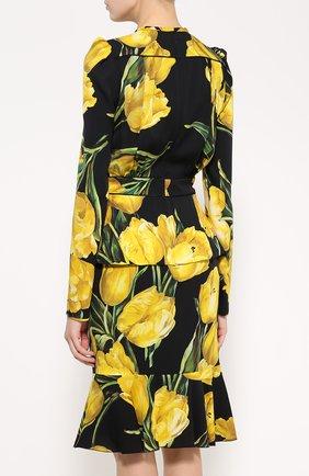 Шелковое платье с цветочным принтом и юбкой годе Dolce & Gabbana желтое | Фото №4