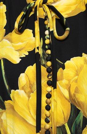 Шелковое платье с цветочным принтом и юбкой годе Dolce & Gabbana желтое | Фото №5