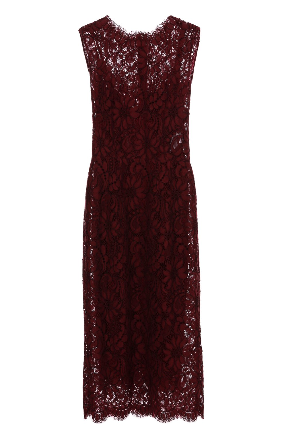 Кружевное приталенное платье без рукавов   Фото №1