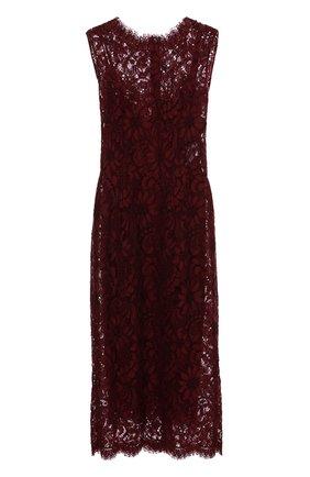 Кружевное приталенное платье без рукавов Dolce & Gabbana фиолетовое   Фото №1