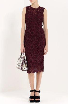 Кружевное приталенное платье без рукавов Dolce & Gabbana фиолетовое   Фото №2
