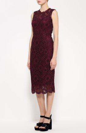 Кружевное приталенное платье без рукавов Dolce & Gabbana фиолетовое   Фото №3