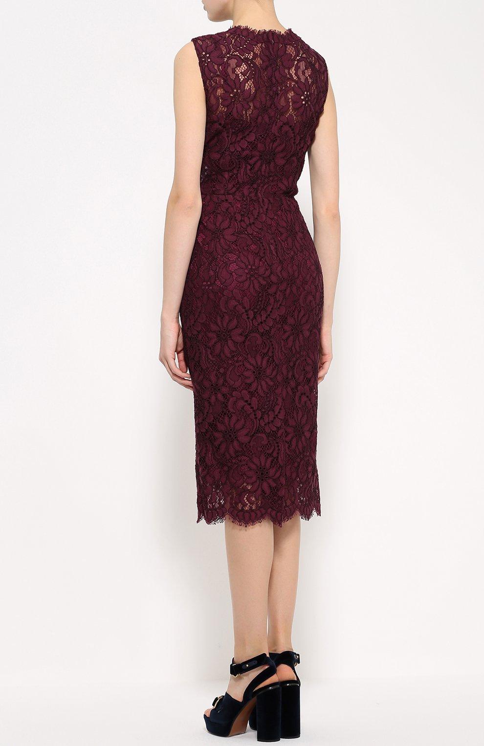 Кружевное приталенное платье без рукавов Dolce & Gabbana фиолетовое   Фото №4