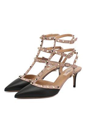 Женская кожаные туфли valentino garavani rockstud с ремешками VALENTINO черного цвета, арт. ZW2S0375/V0D   Фото 1