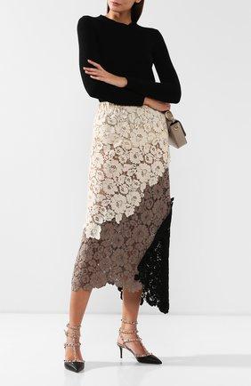 Женская кожаные туфли valentino garavani rockstud с ремешками VALENTINO черного цвета, арт. ZW2S0375/V0D   Фото 2
