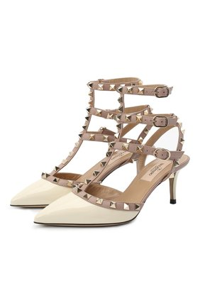 Женская лаковые туфли valentino garavani rockstud с ремешками VALENTINO белого цвета, арт. ZW2S0375/VNW | Фото 1