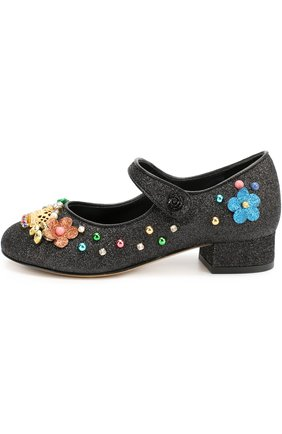 Детские туфли с глиттером и декором Dolce & Gabbana черного цвета | Фото №1