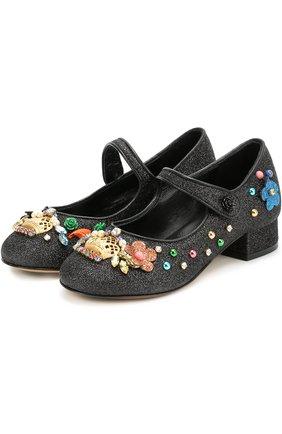 Детские туфли с глиттером и декором Dolce & Gabbana черного цвета | Фото №2