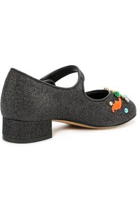 Детские туфли с глиттером и декором Dolce & Gabbana черного цвета | Фото №3