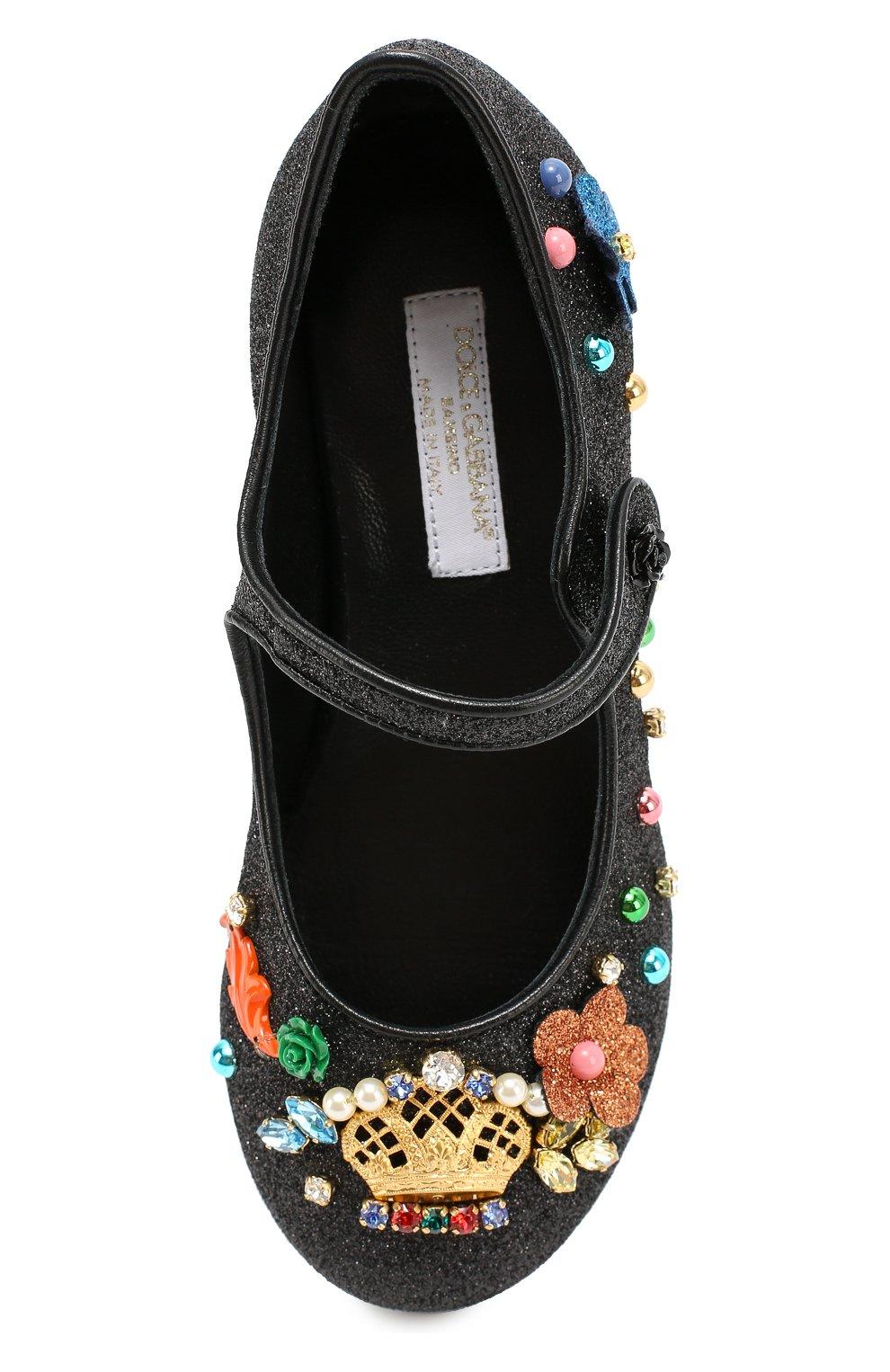 Детские туфли с глиттером и декором Dolce & Gabbana черного цвета | Фото №4